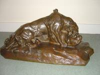 19th Century French Bronze Animalier Pair of Fighting Tigers