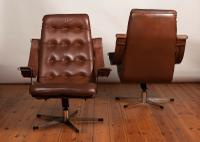 Pair of Danish 1970's Leather & Chrome Swivel Armchairs (5 of 5)