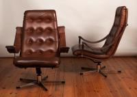 Pair of Danish 1970's Leather & Chrome Swivel Armchairs (4 of 5)