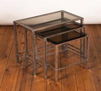 1970s Danish Nest of Three Chrome & Glass Tables