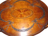 Victorian Carved & Inlaid Oval Satinwood Table c.1890 (2 of 2)