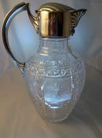 Antique Victorian Silver & Glass Claret Jug by Edward Hutton 1888