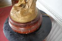 "After E. Picault: ""Victory"" Bronzed / Gilt Large Spelter & Brass Lamp on Variegated Red Marble Base c.1900 (3 of 8)"