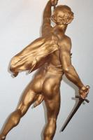 "After E. Picault: ""Victory"" Bronzed / Gilt Large Spelter & Brass Lamp on Variegated Red Marble Base c.1900 (7 of 8)"