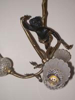 Bronze Putti Three Lamp Ceiling Light c.1920 (3 of 5)