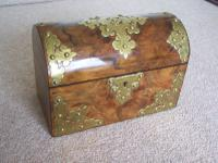 Victorian Walnut Domed Stationery Box