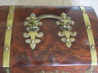 Burr Walnut Silk Lined Low Dome Sewing or Jewellery Box (7 of 7)