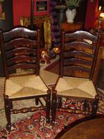A Pair of 19th Century Lancashire Ladder Back Chairs