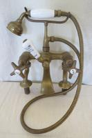 Vintage Genuine Original Brass Bath Taps & Shower Attachment
