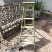 Set of Original Vintage Green Distressed Ladders