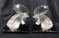 Extremely Rare Pair of Rene Lalique 'Tete De Coq' Car Mascots c.1928