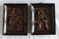 Pair of Continental Carved Early 19th Century Religious Panels