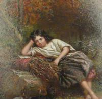 """Exceptional 19th Century Oil Painting """"Young Girl with Her Dog in Woods""""  by Jonathan Pratt (2 of 6)"""
