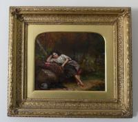 """Exceptional 19th Century Oil Painting """"Young Girl with Her Dog in Woods""""  by Jonathan Pratt (4 of 6)"""