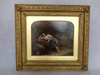 """Exceptional 19th Century Oil Painting """"Young Girl with Her Dog in Woods""""  by Jonathan Pratt (3 of 6)"""