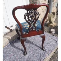 Chippendale Carved Mahogany Library Chair (4 of 8)