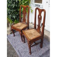 Pair of Early Georgian Oak Cab Leg Chairs (2 of 7)