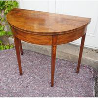 Georgian Inlaid Mahogany D Shape Tea Table