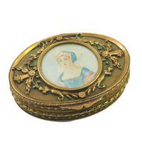 Superb French Oval Ormolu Jewel Box with Portrait c.1840
