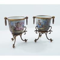 Beautiful Pair of Continental Cachepots c.1850