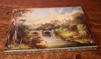 Superb Papier Mache Blotter with Oil Painting of Alnwick Castle