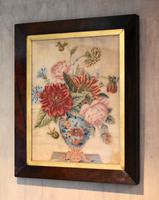 Victorian Needlework of a Vase of Flowers