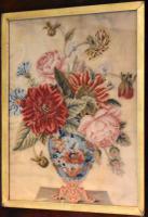 Victorian Needlework of a Vase of Flowers (3 of 9)