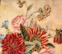 Victorian Needlework of a Vase of Flowers (4 of 9)