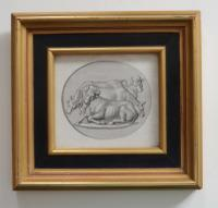 Framed Engraving of Cows c.1800