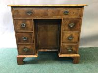 Small Queen Anne Walnut Kneehole Writing Desk / Dressing Table