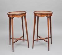 Pair of Sheraton Revival Mahogany & Inlaid Urn Stands