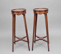 Pair of Sheraton Revival Mahogany & Inlaid Urn Stands (11 of 15)