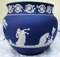 Antique English Victorian Blue Jasperware Jardiniere ~ William Adams & Sons