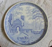 """Antique English Georgian Blue and White Transfer Spode """"Castle"""" Pattern Footed Low Circular Pottery Stand"""