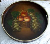 Antique English Victorian Papier Mache Waiter / Tray