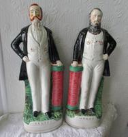Pair of Antique English Victorian Staffordshire Pottery Portrait Figures ~ Moody ~ P D9 ~ H 59 and Sankey ~ P D10 ~ H 84