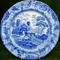"Antique English Georgian Blue & White Transfer Spode ""Castle"" Pattern Plate"