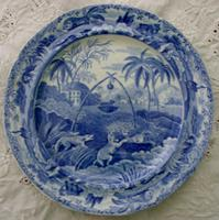 """Antique English Georgian Blue and White Transfer """"Common Wolf Trap"""" Pattern Pottery Plate ~ Spode ~ Indian """"Sporting"""" Series"""