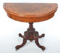 Victorian Marquetry Inlaid Burr Walnut Card Table