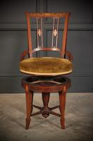 Mahogany Marquetry Inlaid Revolving Harpists Chair (11 of 12)