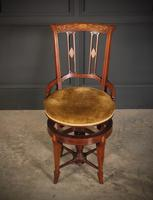Mahogany Marquetry Inlaid Revolving Harpists Chair (12 of 12)