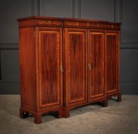 Magnificent Marquetry Inlaid Breakfront Bookcase (2 of 12)