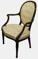 Hepplewhite Period Upholstered Mahogany Elbow Chair (2 of 5)