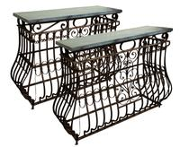 Wrought Iron & Slate Console Tables