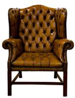 18th Century Style Leather Wing Chair c.1900 (5 of 6)