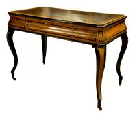 French Amboyna & Ebony Writing Table