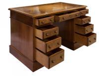 Mahogany Lined, Oak & Burr Walnut Desk (2 of 7)