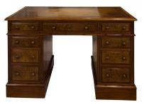 Mahogany Lined, Oak & Burr Walnut Desk (3 of 7)
