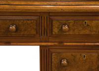 Mahogany Lined, Oak & Burr Walnut Desk (6 of 7)