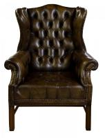 Olive Green Leather Wing Chair c.1960 (2 of 6)